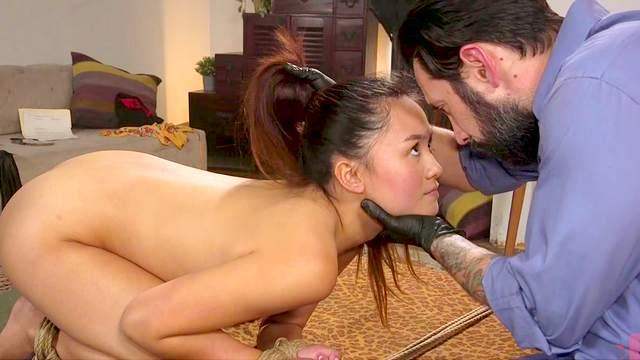 Asian slut fucked in a rough bondage home play