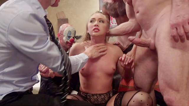 MILF fucked by a group of clowns in crazy XXX gangbang