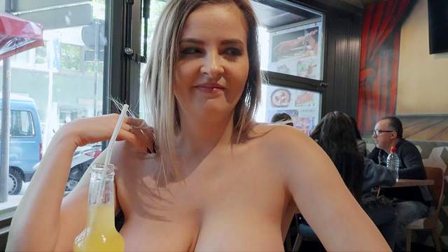 Russian knockout Candy Alexa showcases big juggs during hot public fuck