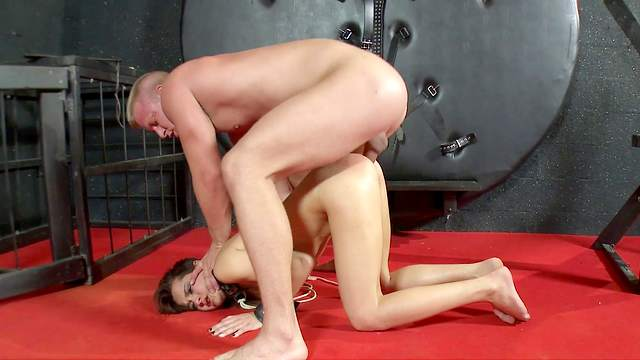 Amateur anal sex during harsh BDSM for the petite angel