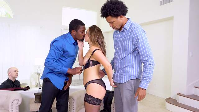 Wife shares and fucks by two black dudes in home cuckold