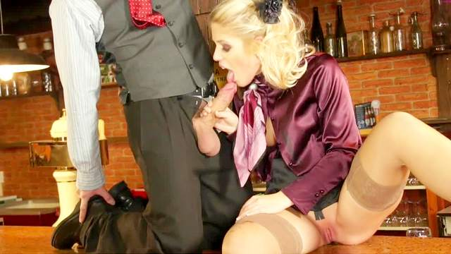 Bar, Blonde, Blouse, Blowjob, Cumshot, Fetish, Hardcore, HD, Satin, Shaved pussy, Slut, Stockings, Vibrator
