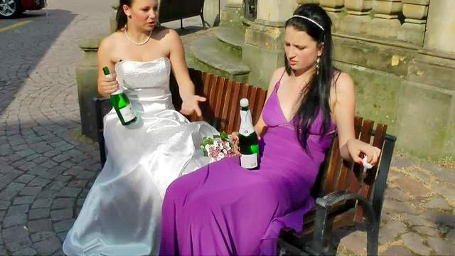 Bride, Brunette, Clothed, Fetish, HD, Messy, Outdoor, Party, Wedding, Wet