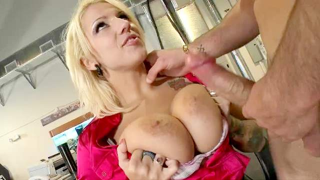 Beauty, Big tits, Blonde, Blouse, Blowjob, Handjob, HD, Office, Pussy licking, Satin, Shaved pussy, Tattoo