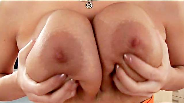 Big tits, Blonde, Fingering, Kitchen, Masturbation, MILF, Oil, Rubbing, Shaved pussy