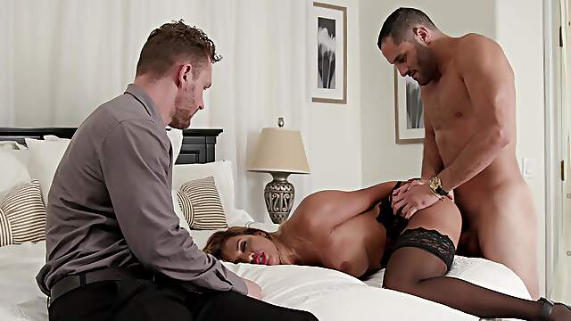 Cuckold husband watches his seductive wife being fucked by his colleague