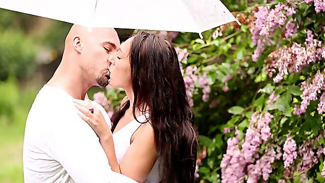 Super sensual lovemaking in the garden for amorous couple