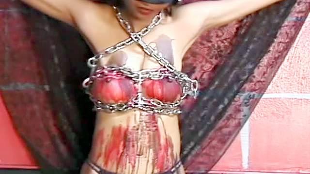 Hard nipples Asian in bondage