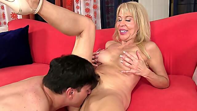 Blonde mature rides massive stepson's cock like a whore