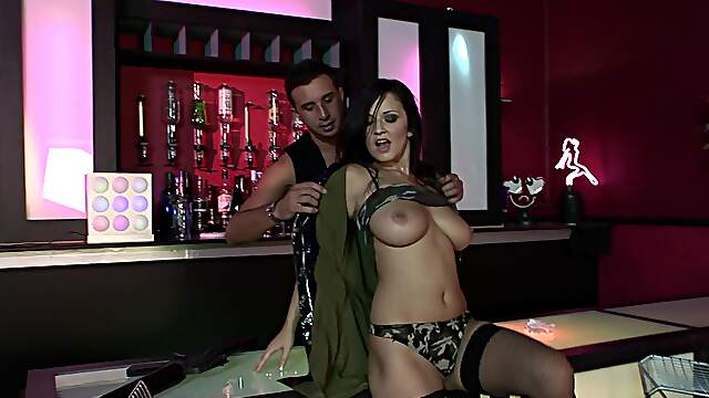Busty woman shared by horny lads down at the bar
