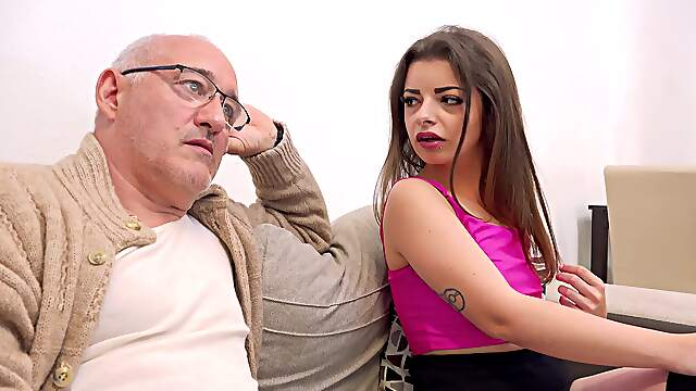 Good looking Mary Jane gets fucked on the sofa by an older guy