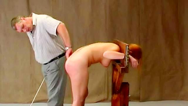 Ass, BDSM, Guillotine, HD, Redhead, Schoolgirl, Spanking, Tattoo