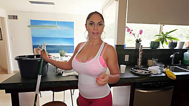 Busty maid Marta La Croft gives a blowjob and gets fucked in doggy