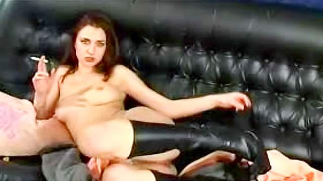 Cigarette, Fetish, High heels, Masturbation, Messy, MILF, Natural tits, Shaved pussy, Smoking, Sofa
