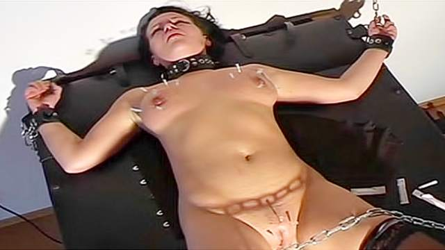 BDSM, Brunette, Corset, Dungeon, Hanging, Pain, Stockings, Tied, Tits torture
