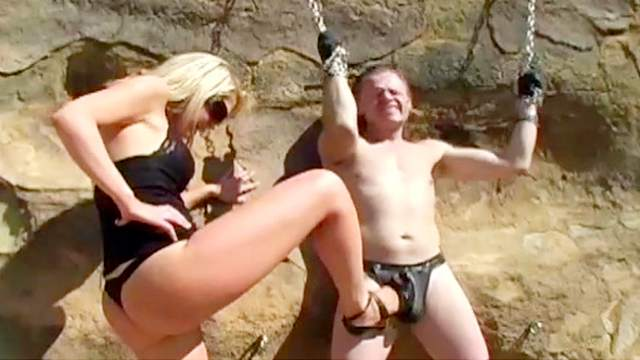 Abused, Blowjob, CBT, Chinese, Domination, Femdom, High heels, Outdoor, Pain