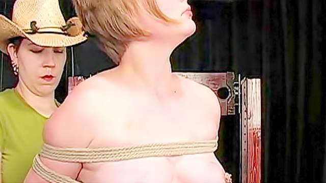 Bondage, Femdom, High heels, Shibari, Tits torture