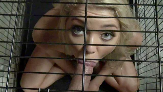 Girl in a cage fucked by a hard dick