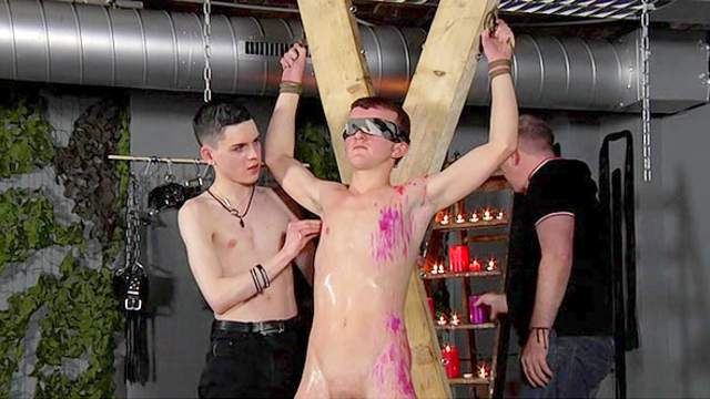 Hot wax all over a bound twink boy