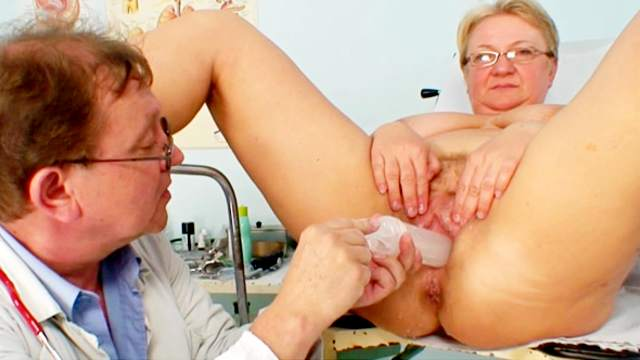 Fat old lady in for her gyno exam