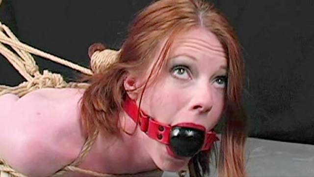 BDSM, Domination, Gagging, Redhead, Rope, Shaved pussy, Shibari