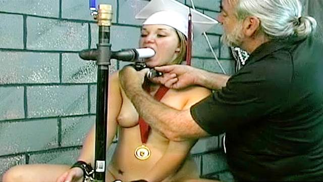 BDSM, Chinese, Handcuffs, HD, Old man, Shaved pussy, Teen